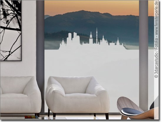 fensterfolie mit skylines und landschaften passgenau. Black Bedroom Furniture Sets. Home Design Ideas