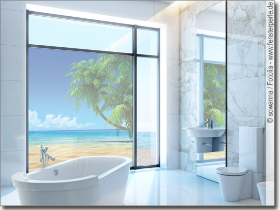 Fensterfoto traumhafter strand klebefolie f r glas for Glas klebefolie