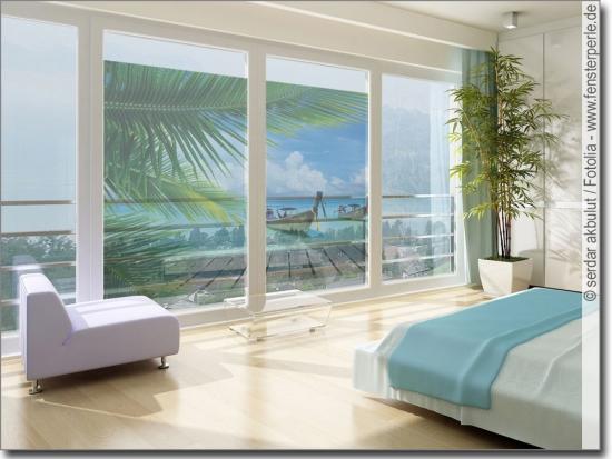 Fotofolie karibisches meer fenster klebefolie karibik for Klebefolie transparent farbig