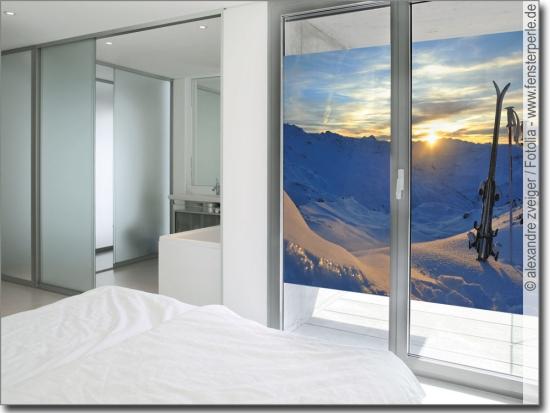 Winterlandschaft glas klebefolie tannen und schnee for Glas klebefolie