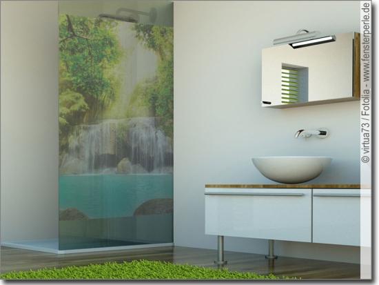 wasserfall im paradies selbstklebende fenster folie. Black Bedroom Furniture Sets. Home Design Ideas