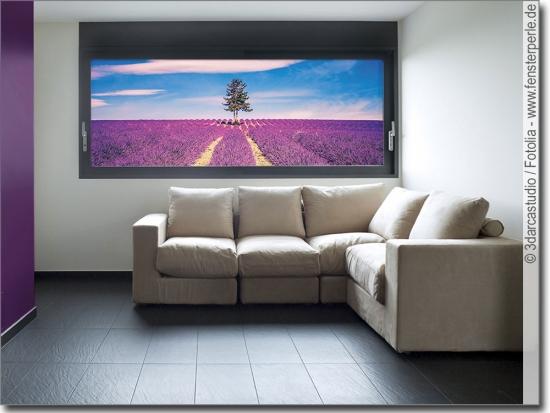 Glasbild lavendelfeld for Bedruckte klebefolie