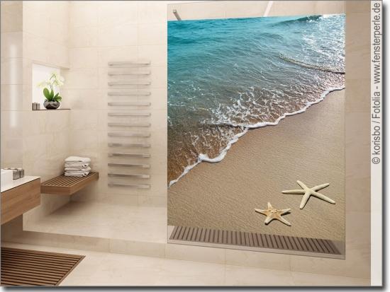 Strand mit seesternen - Glasbild badezimmer ...