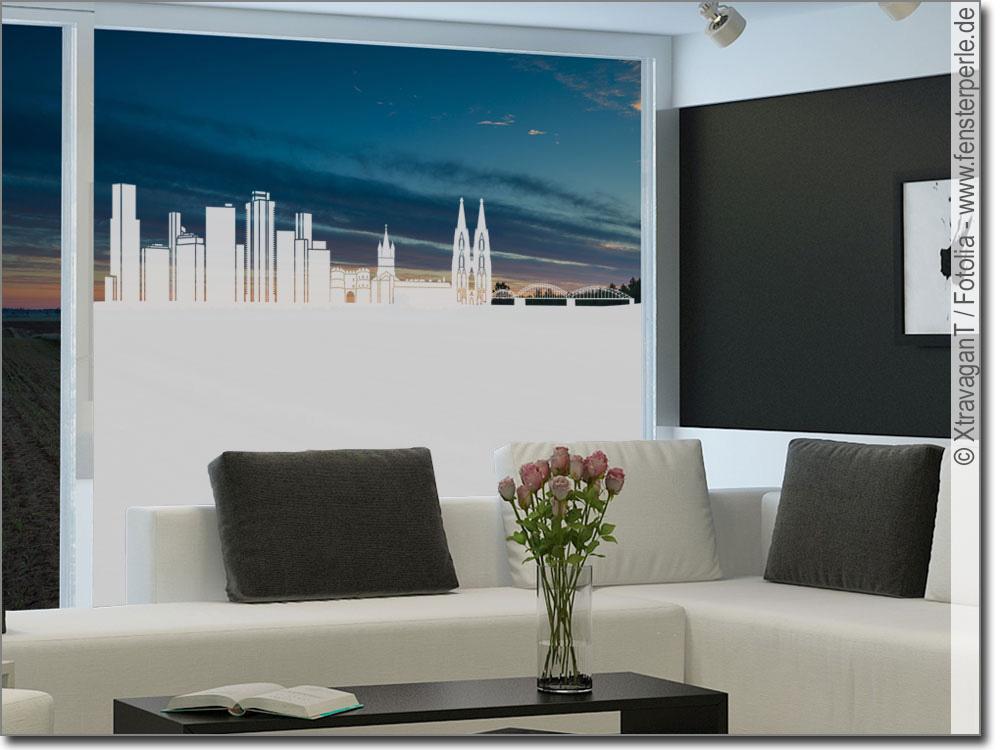 sichtschutzfolie skyline k ln. Black Bedroom Furniture Sets. Home Design Ideas