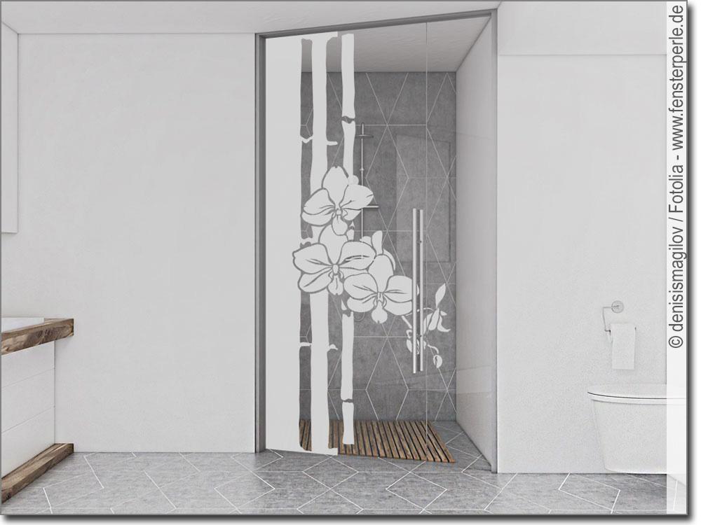 Fensterfolie Bambus Mit Orchidee