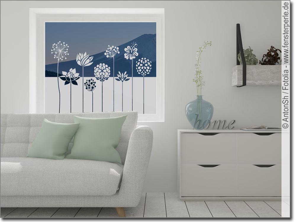 fensterfolie blume. Black Bedroom Furniture Sets. Home Design Ideas