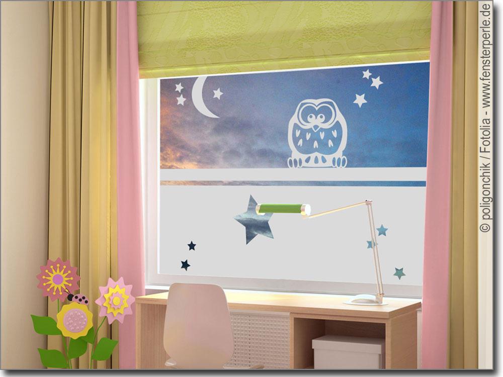Fensterfolie mit Eule| Fensterperle.de
