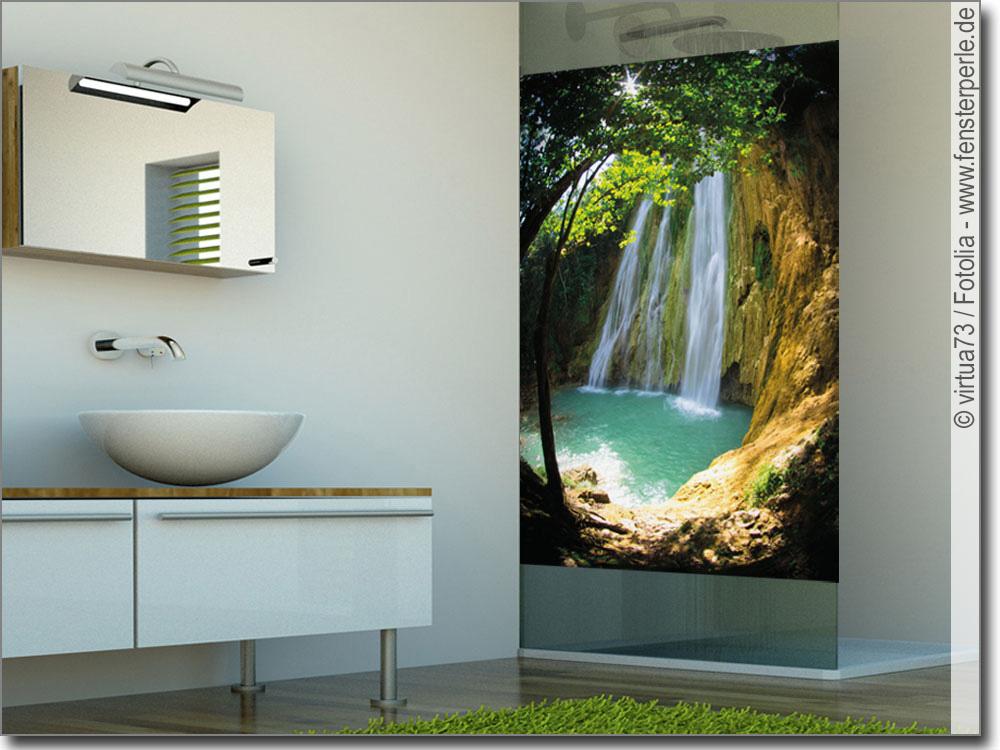 glasbild mit wasserfall foto zum bekleben von glas. Black Bedroom Furniture Sets. Home Design Ideas