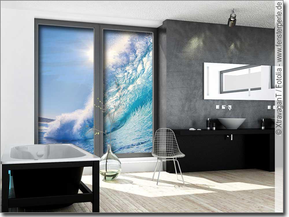 Glasbild welle - Glasbild badezimmer ...