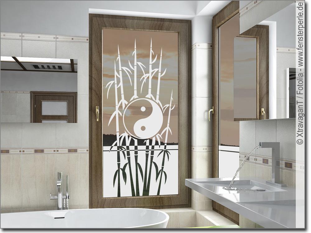 Milchglasfolie Bambus Yin Yang