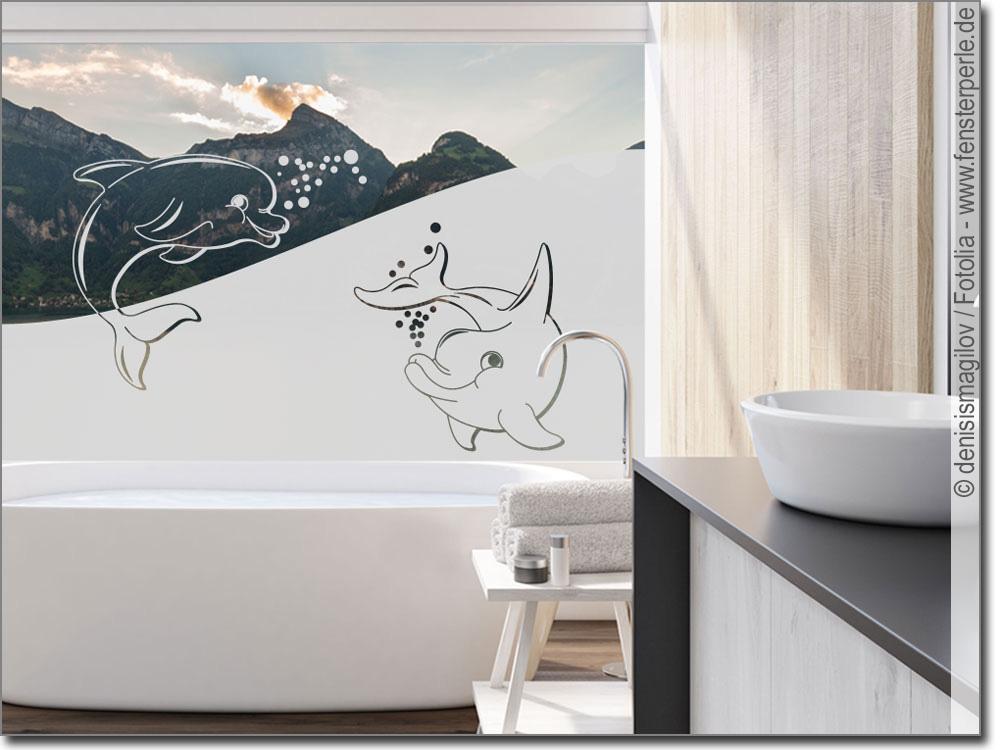 Sichtschutz zwei Delphine | Fensterfolie fürs Bad