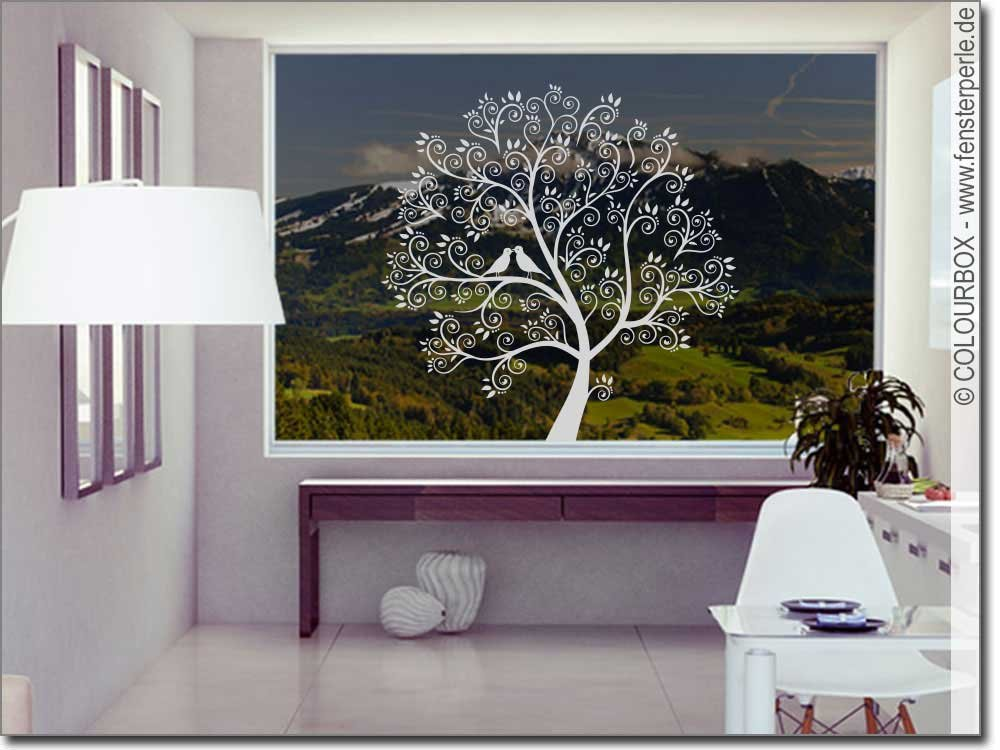 fenstertattoo baum mit v geln. Black Bedroom Furniture Sets. Home Design Ideas