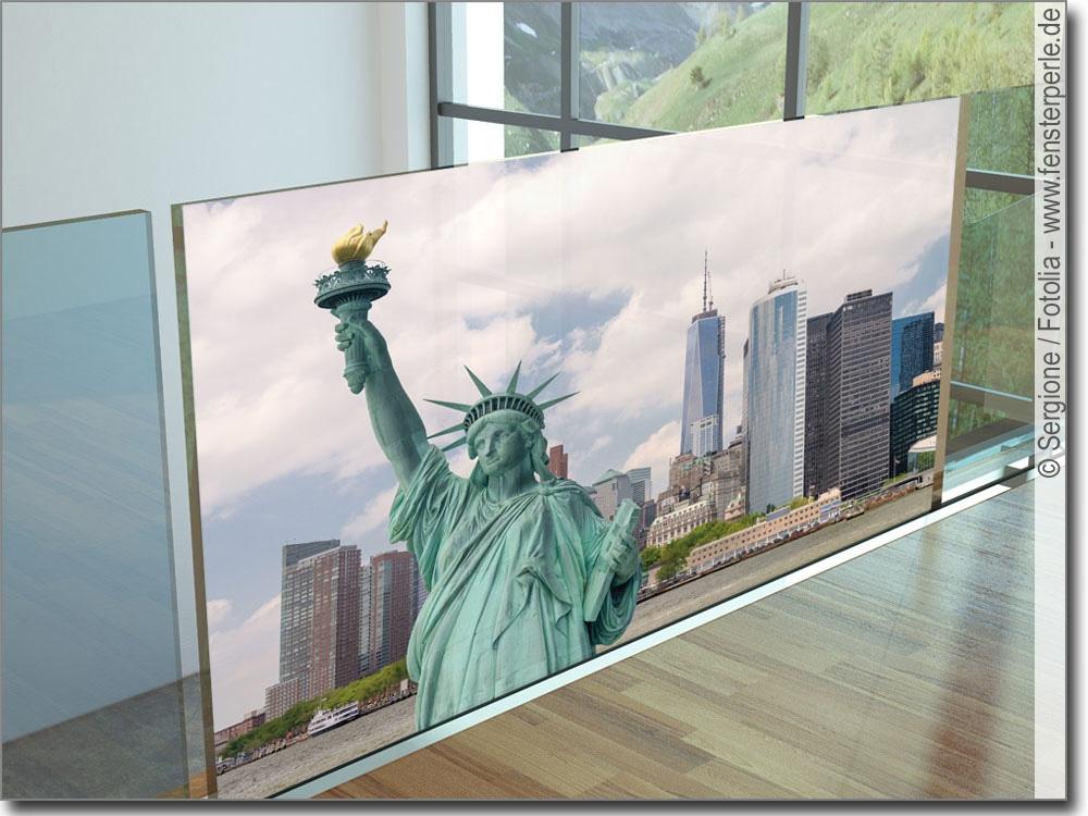 glasbild freiheitsstatue statue of liberty als fensterfolie. Black Bedroom Furniture Sets. Home Design Ideas