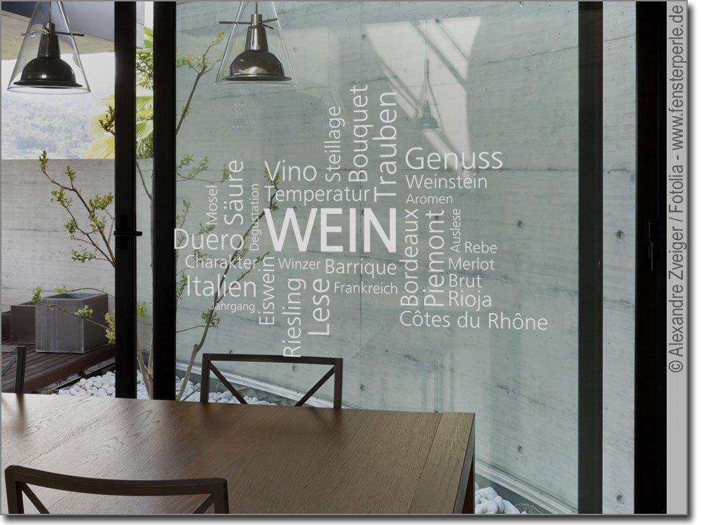 Wortwolke Wein Als Fensteraufkleber